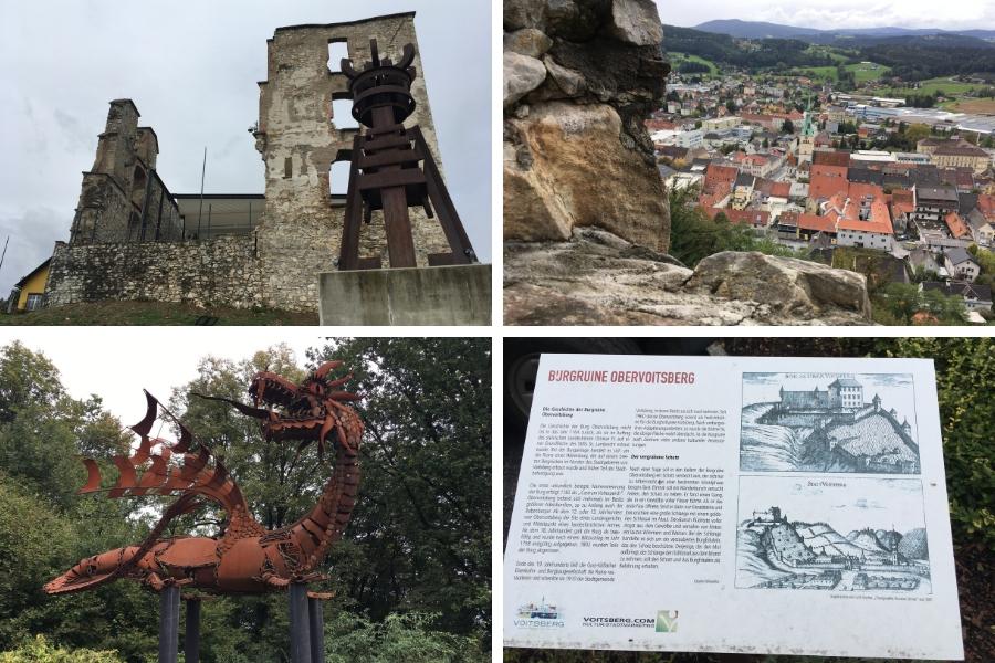 Burgruine Obervoitsberg - Sagenberg und Eingang zum Energie Erlebnispark Zangtal - Fotos: Burchhart
