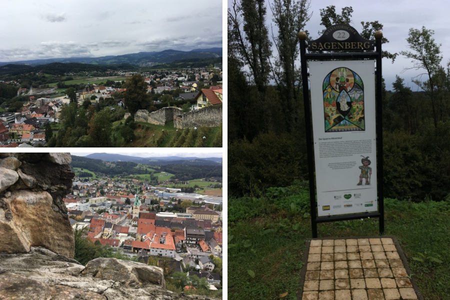 Aussichten rund um die Burg Voitsberg und Infotafeln zum Sagenberg
