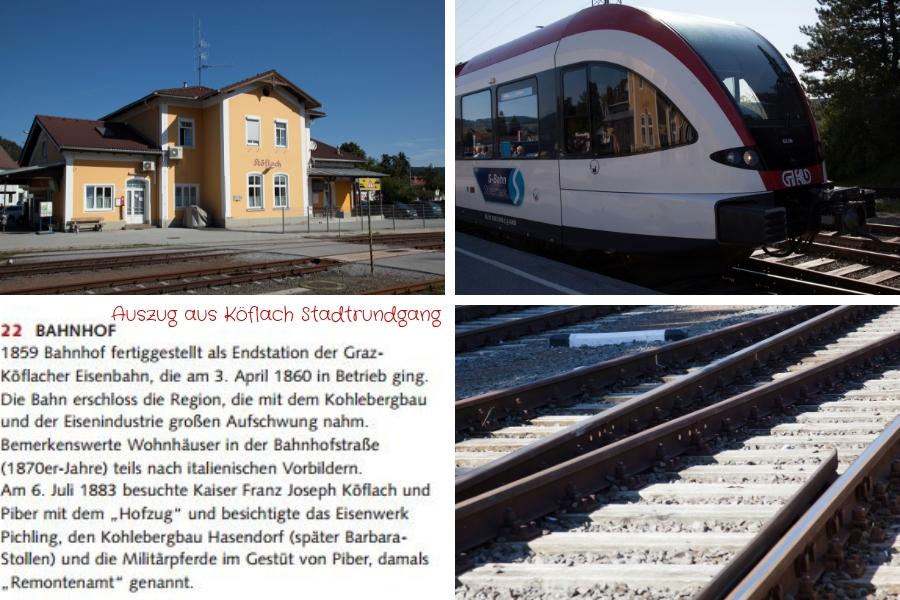 Bahnhof Köflach - Text links unten ist Auszug aus dem Köflacher Stadtrundgang - Fotos (c) Familie Wascher