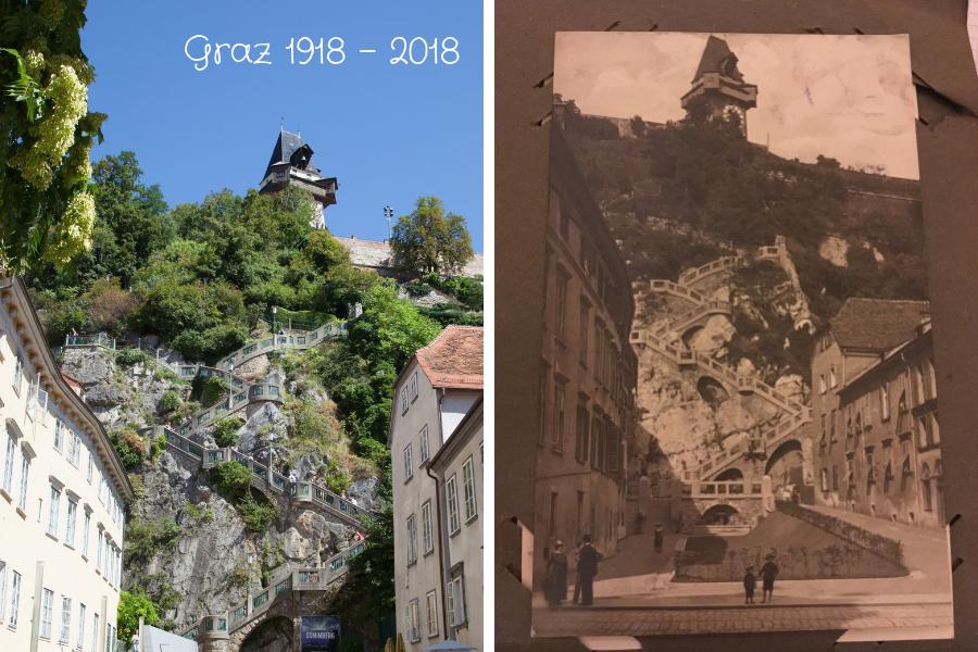 Beliebte Foto-Ansicht vom Schlossberg Graz mit Uhrtrum - Foto links von mir, rechts Postkarte von 1918
