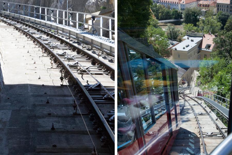 Fahrt mit der Schlossbergbahn - links Blick nach oben, rechts Blick nach unten - Fotos (c) Familie Wascher