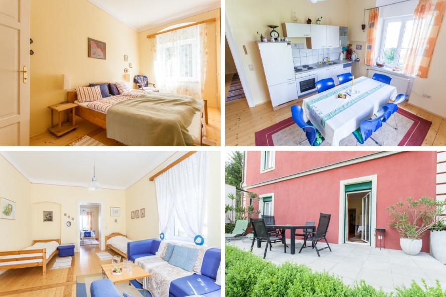Ferienwohnung Irene - links oben Schlafzimmer mit Doppelbett, rechts oben Küche, links unten Wohnzimmer mit 2 Einzelbetten und Sofa, rechts unten Terrasse mit Tür zur Küche