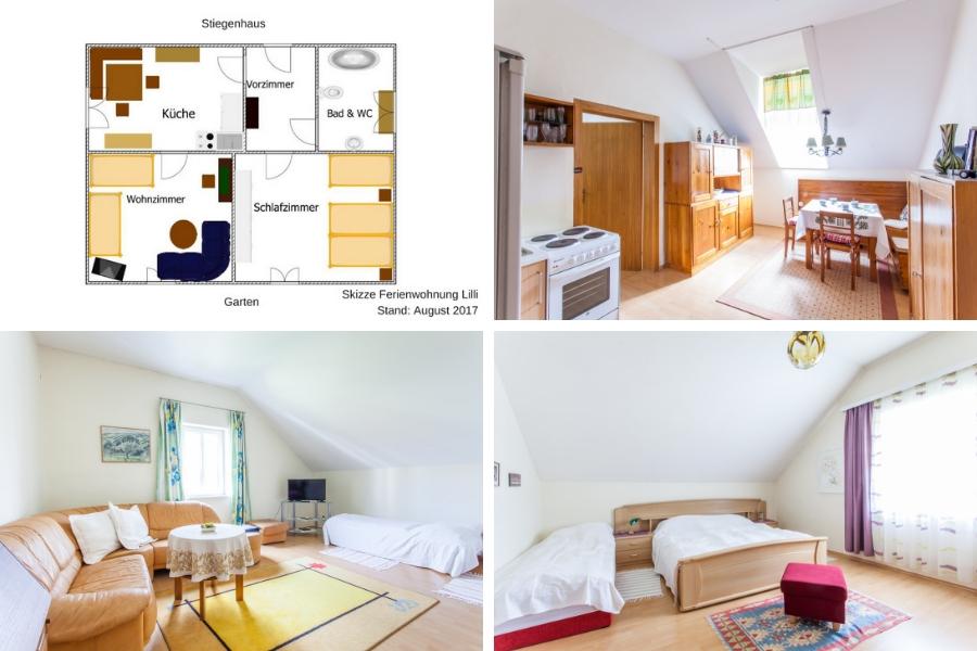 Ferienwohnung Lilli - links oben Wohnungsplan - rechts oben Küche - links unten Wohnzimmer mit Sofa und 2 Einzelbetten - rechts unten Schlazimmer mit Doppelbett, Einzelbett und großem Kasten mit Stauraum