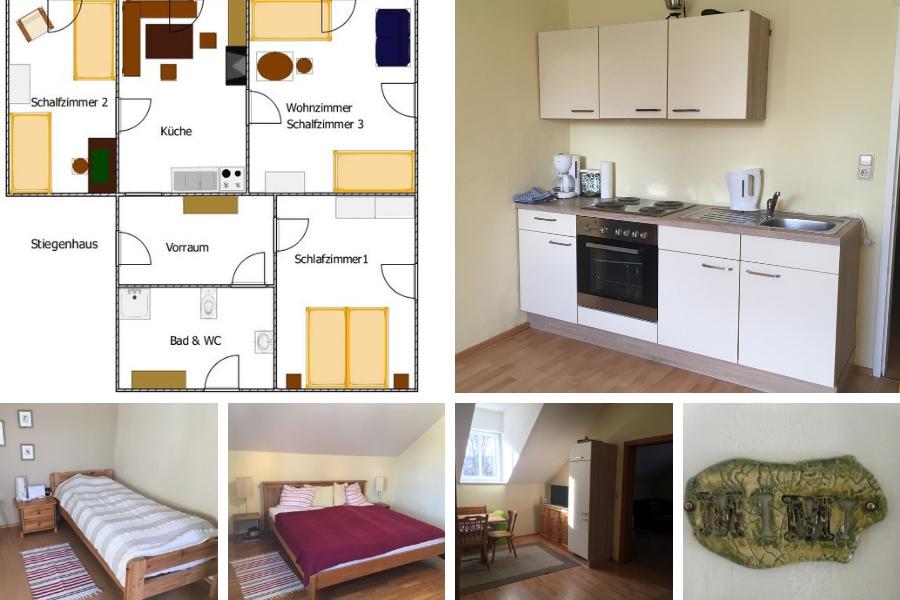 Ferienwohnung Mimi im 2. Stock - links oben Plan der Wohnung, rechts oben Küche, unten von links nach rechts - Schlafzimmer, Schlafzimmer mit Doppelbett, Küche mit Sitzecke, Türschild