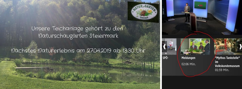 Unsere Teichanlage zählt zu den Naturschaugärten Steiermark - nächstes Naturerlebnis 27.04.2019 ab 13:30 Uhr