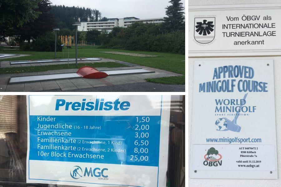 Minigolfanlage Köflach mit Preisliste