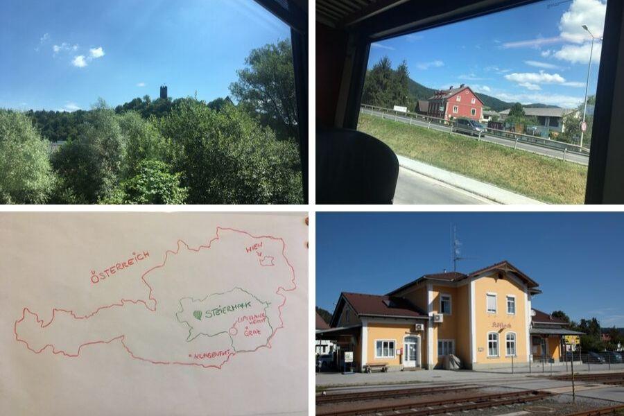 Mit dem Zug von Wien über Graz nach Köflach