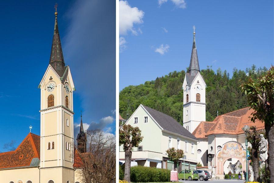 Kirche Maria Lankowitz von zwei Seiten