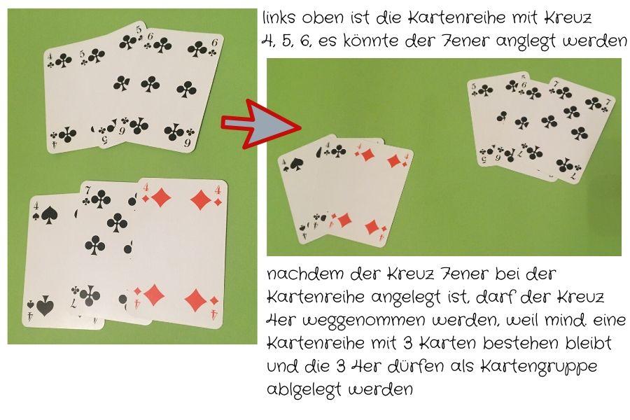 Anlegen & Zerreißen - dadurch werden neue Kartengruppen bzw. Kartenreihen gebildet