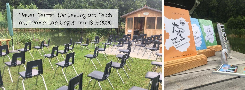 Neuer Termin für Lesung am Teich mit Maximilian Unger am 13.09.2020